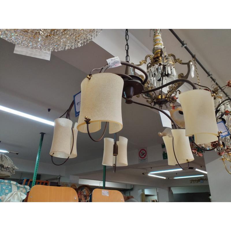 LAMPADARIO ANTICHIZZATO 5 LUCI COPPA VETRO SABBIATO | Mercatino dell'Usato Molfetta 1