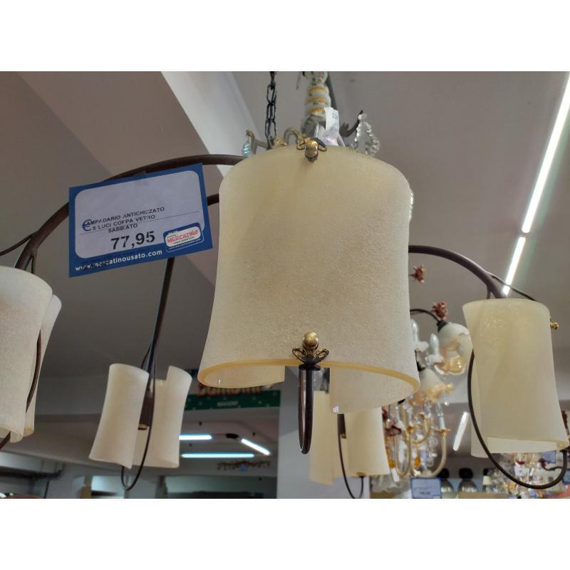 LAMPADARIO ANTICHIZZATO 5 LUCI COPPA VETRO SABBIATO | Mercatino dell'Usato Molfetta 2