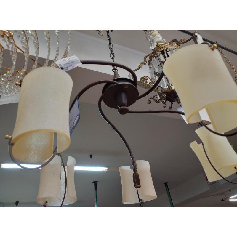 LAMPADARIO ANTICHIZZATO 5 LUCI COPPA VETRO SABBIATO | Mercatino dell'Usato Molfetta 3