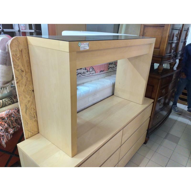 CONSOLLE FAGGIO IKEA RIPIANO VETRO 1 CASSETTO | Mercatino dell'Usato Molfetta 1