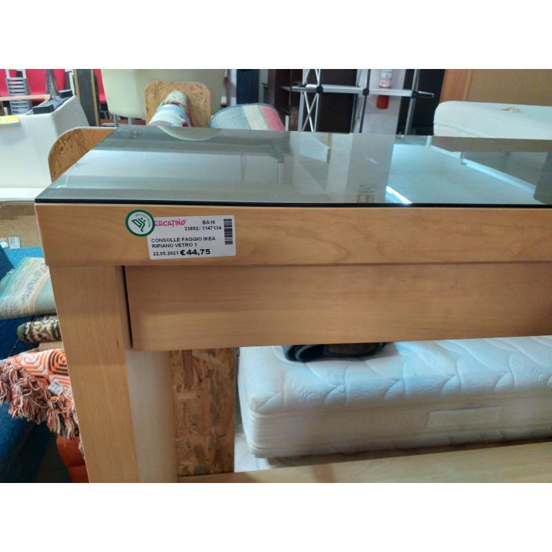 CONSOLLE FAGGIO IKEA RIPIANO VETRO 1 CASSETTO | Mercatino dell'Usato Molfetta 2
