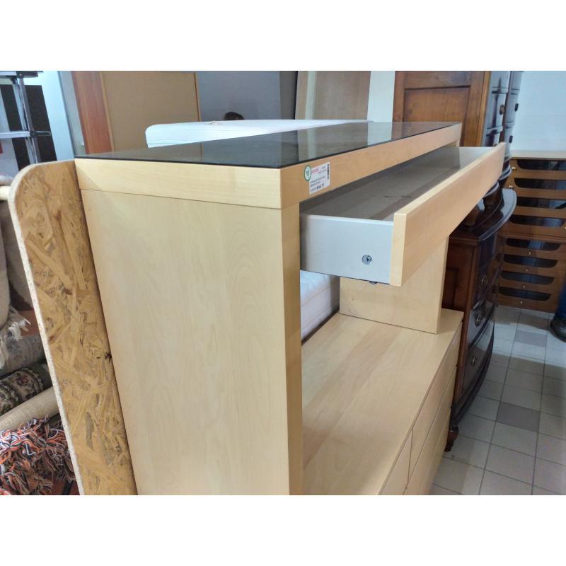 CONSOLLE FAGGIO IKEA RIPIANO VETRO 1 CASSETTO | Mercatino dell'Usato Molfetta 3