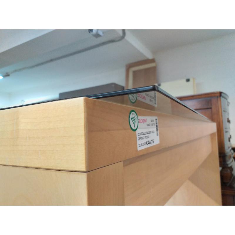 CONSOLLE FAGGIO IKEA RIPIANO VETRO 1 CASSETTO | Mercatino dell'Usato Molfetta 4
