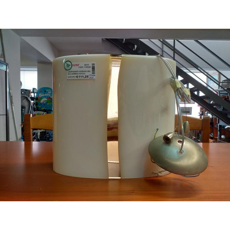 LAMPADARIO MURANO BIANCO-AMBRA VISTOSI+STAFFA   Mercatino dell'Usato Molfetta 1