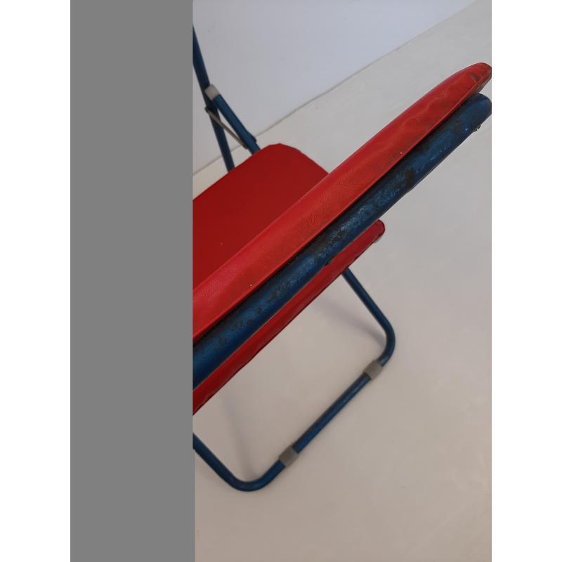BANCO SCUOLA VINTAGE FERRO BLU ROSSO BASE FORMICA ANNI 60 | Mercatino dell'Usato Molfetta 3