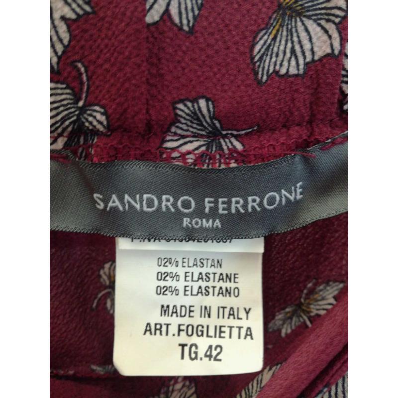 PANTALONE DONNA SANDRO FERRONE BORDEAUX FIORI | Mercatino dell'Usato Molfetta 3