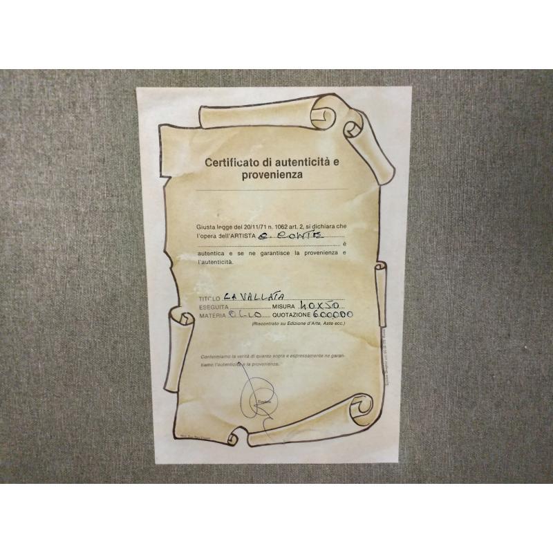 QUADRO DIPINTO PANORAMICA DONNA IN PREGHIERA NICCHIA FIRMA CONTE | Mercatino dell'Usato Molfetta 3