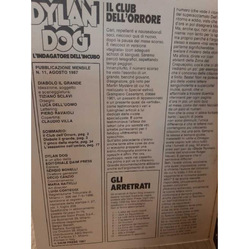 DYLAN DOG N.11 - 1° EDIZIONE | Mercatino dell'Usato Bologna 4