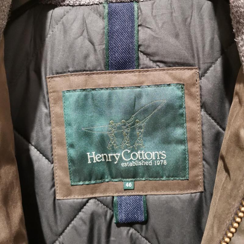GIUBBOTTO UOMO HENRY COTTONS GRIGIO MELANGE TOPPE VERDE INSERTO | Mercatino dell'Usato Corbetta 3