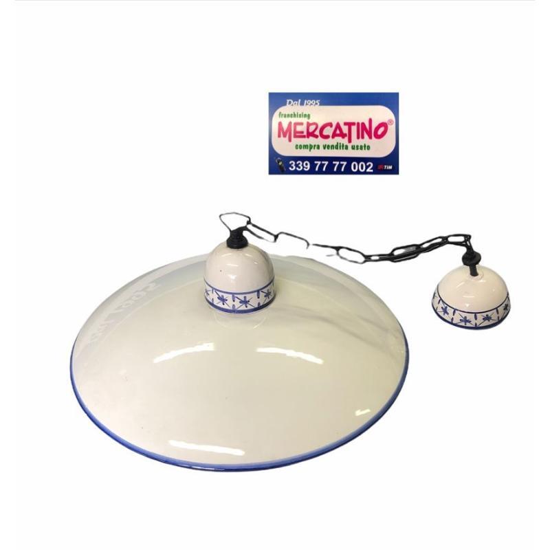 LAMPADARIO CERAMICA BIANCO DIPINTO BLU   Mercatino dell'Usato Brusciano 2