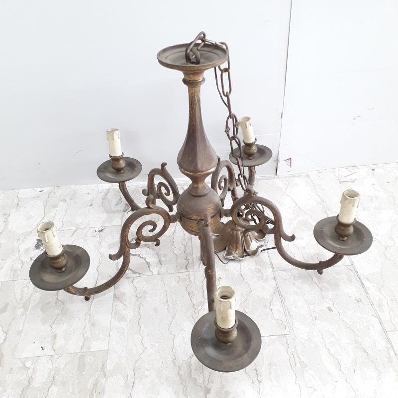 LAMPADARIO IN OTTONE 5 LUCI GHIRIGORI / SPIRALE  | Mercatino dell'Usato Ottaviano 1