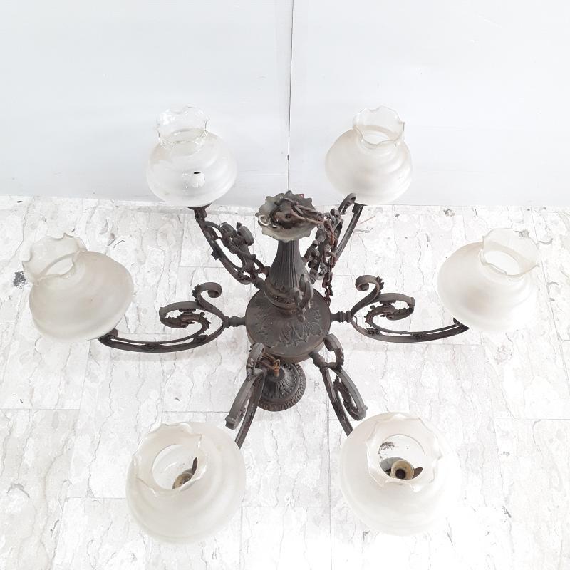 LAMPADARIO IN OTTONE 6 LUCI GHORIGORI (DA RIVEDERE) | Mercatino dell'Usato Ottaviano 2