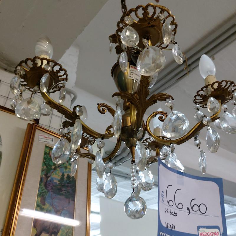 LAMPADARIO 5 LUCI  GOCCE  | Mercatino dell'Usato Perugia 3