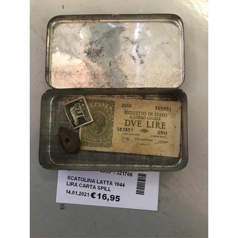 SCATOLINA LATTA 1944 LIRA CARTA SPILLA FRANCOBOLLO   Mercatino dell'Usato Bastia umbra 1