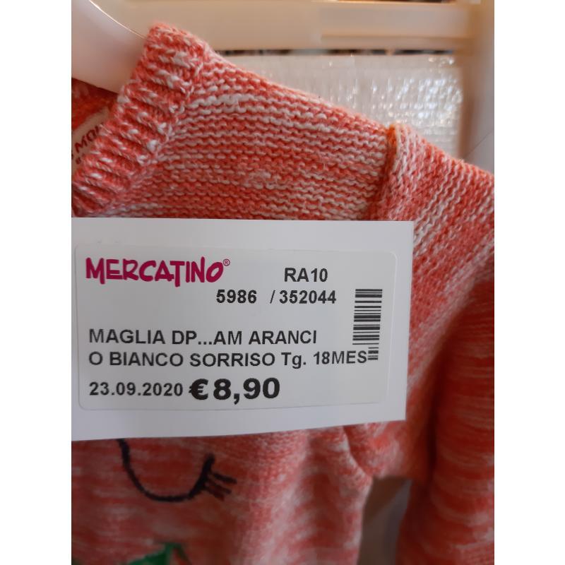MAGLIA DP...AM ARANCIO BIANCO SORRISO BAMBINA | Mercatino dell'Usato Faenza 3