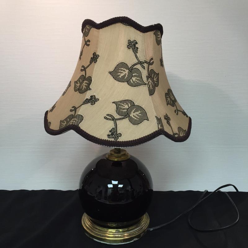 LAMPADA BASE VETRO SFERICO SCURO BASE OTTONE PARALUME TESSUTO    Mercatino dell'Usato Roma porta maggiore 1