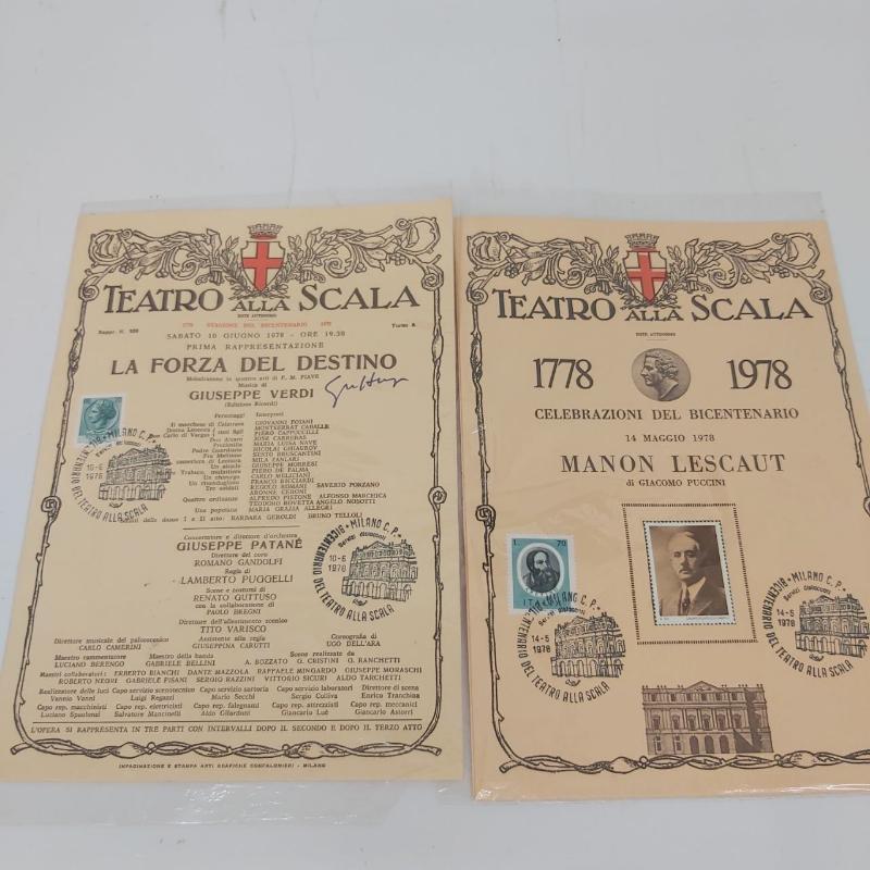 COPPIA FOLDERINI CELEBRAZIONI BICENTENARIO TEATRO ALLA SCALA 1978 AUTOGRAFO | Mercatino dell'Usato Roma porta maggiore 2