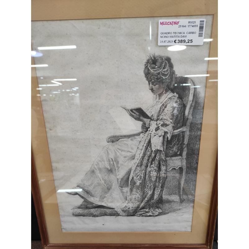 QUADRO TECNICA  CARBONCINO MATITA DAMA IN LETTURA 1845 | Mercatino dell'Usato Roma monteverde 1