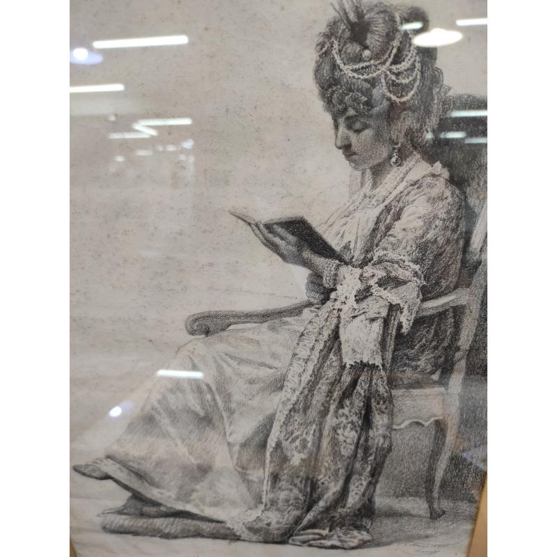QUADRO TECNICA  CARBONCINO MATITA DAMA IN LETTURA 1845 | Mercatino dell'Usato Roma monteverde 2