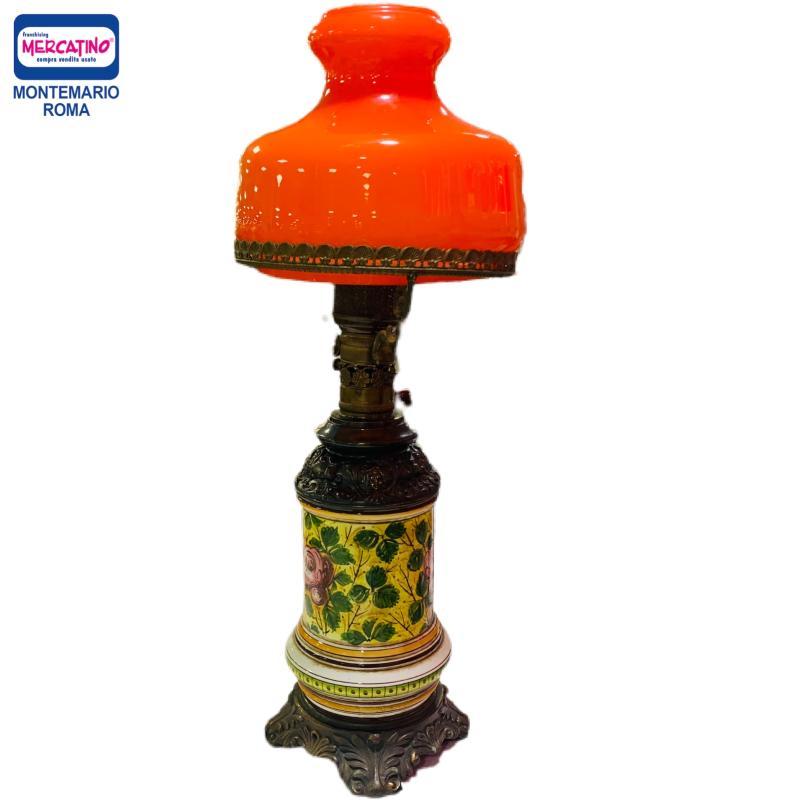 LAMPADA CERAMICA E METALLO CAPPELLO ARANCIO   Mercatino dell'Usato Roma montemario 1