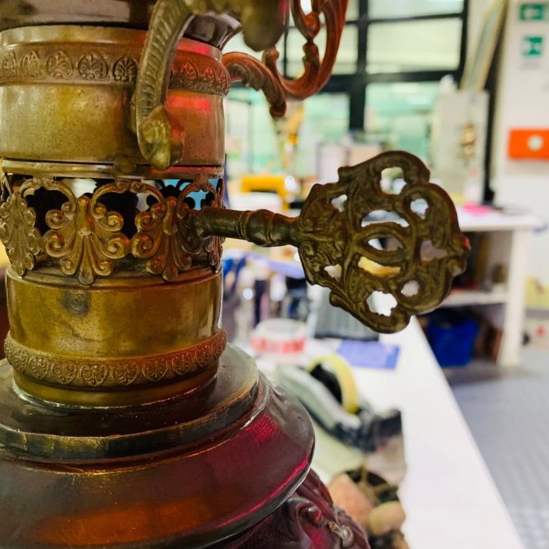 LAMPADA CERAMICA E METALLO CAPPELLO ARANCIO   Mercatino dell'Usato Roma montemario 5