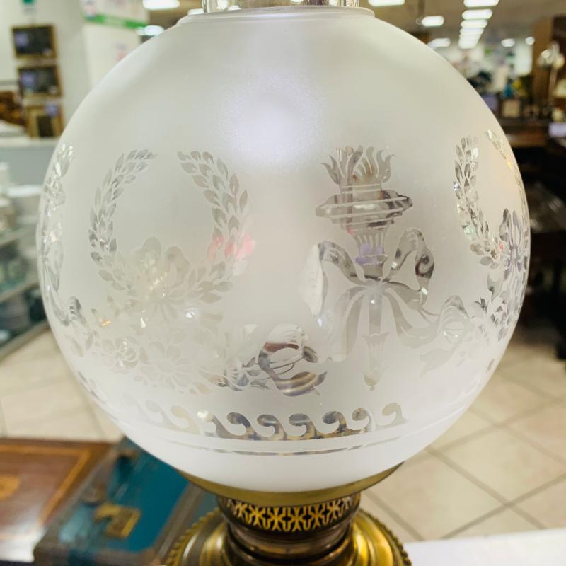 LAMPADA OTTONE AD OLIO SFERA VETRO DECORO   Mercatino dell'Usato Roma montemario 4
