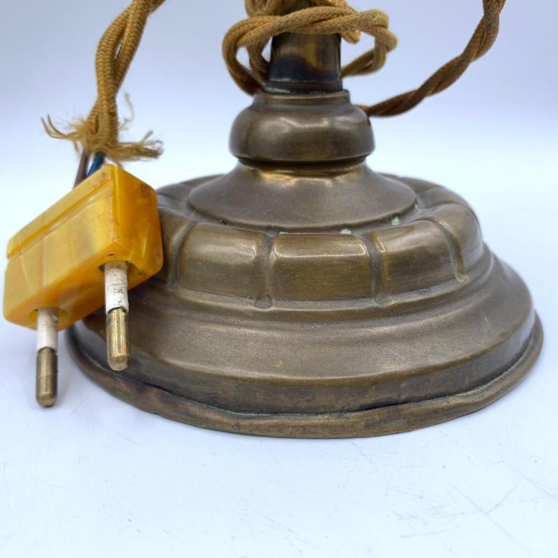 LAMPADA BASE OTTONE PARALUME MURANO OPALESCENTE | Mercatino dell'Usato Roma montemario 4