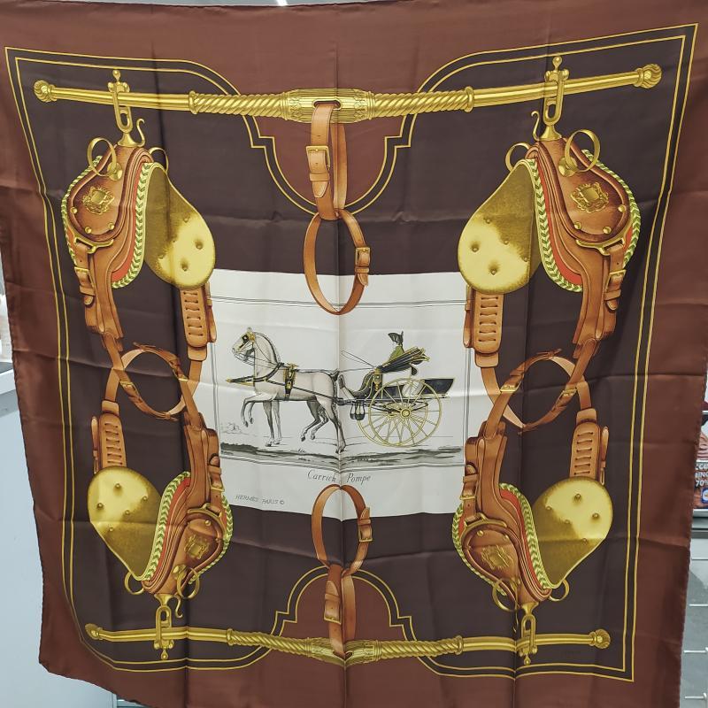 FOULARD HERMES CARRICK A POMPE MARRONE CARROZZA   Mercatino dell'Usato Roma somalia 1