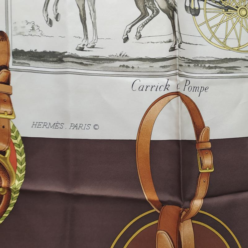 FOULARD HERMES CARRICK A POMPE MARRONE CARROZZA   Mercatino dell'Usato Roma somalia 2