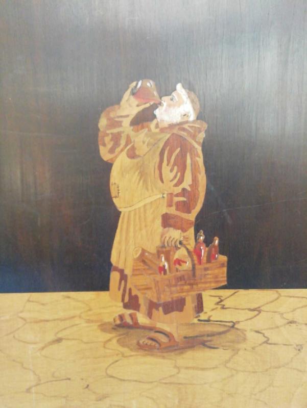 QUADRO LEGNO INTARSIATO FRATE BEVITORE | Mercatino dell'Usato Moncalieri bengasi 3