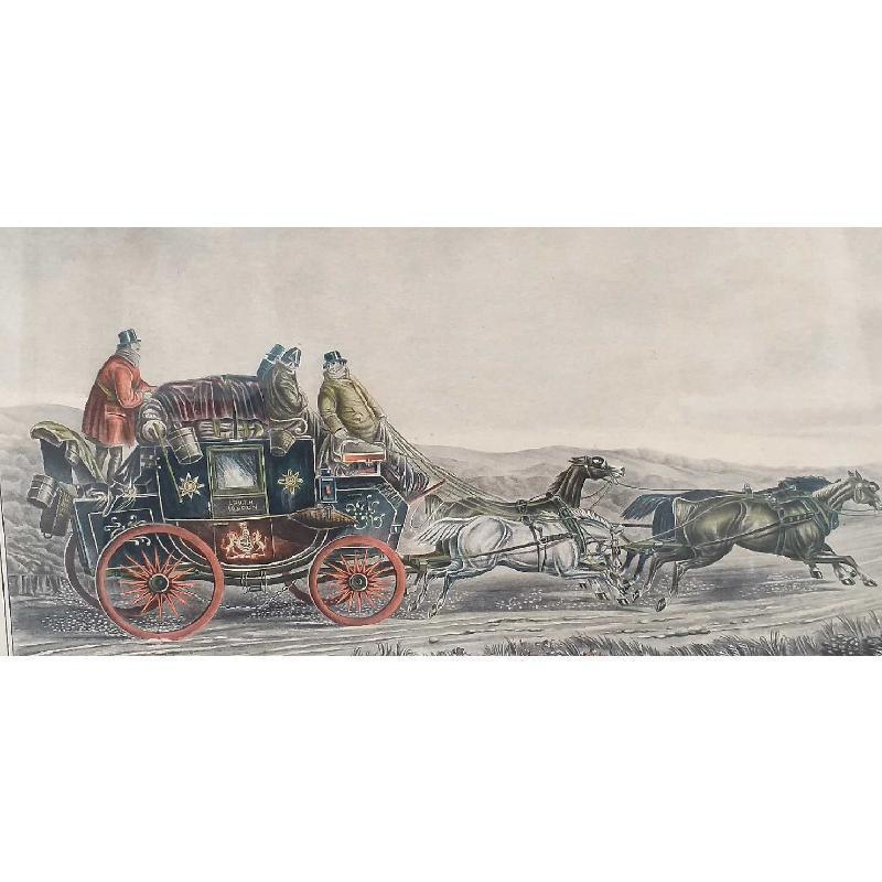 STAMPA VECCHIA COLORATA CARROZZA 4 CAVALLI CHANGING HORSE | Mercatino dell'Usato Moncalieri bengasi 1