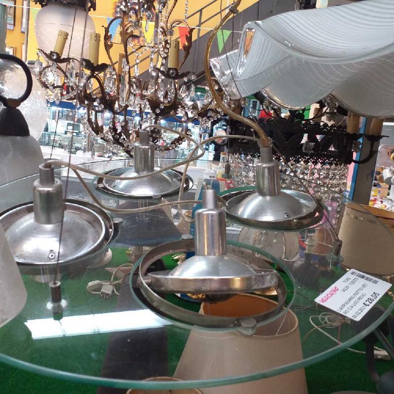 LAMPADARIO PIATTO VETRO C/4 LUCI REGOLABILI | Mercatino dell'Usato Moncalieri bengasi 3