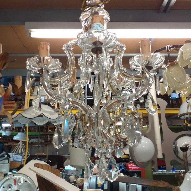 LAMPADARIO VETRO 5 LUCI GOCCE | Mercatino dell'Usato Moncalieri bengasi 1