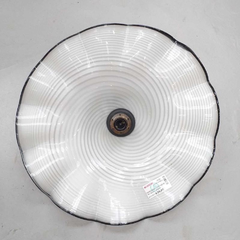 LAMPADARIO CAMPANA VETRO BIANCO BORDINO NERO | Mercatino dell'Usato Moncalieri bengasi 1