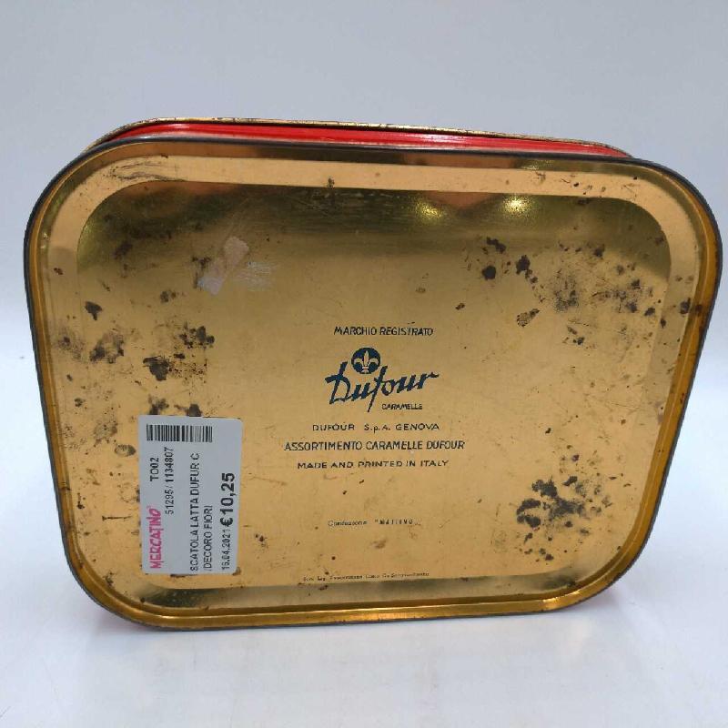 SCATOLA LATTA DUFUR C/DECORO FIORI | Mercatino dell'Usato Moncalieri bengasi 2