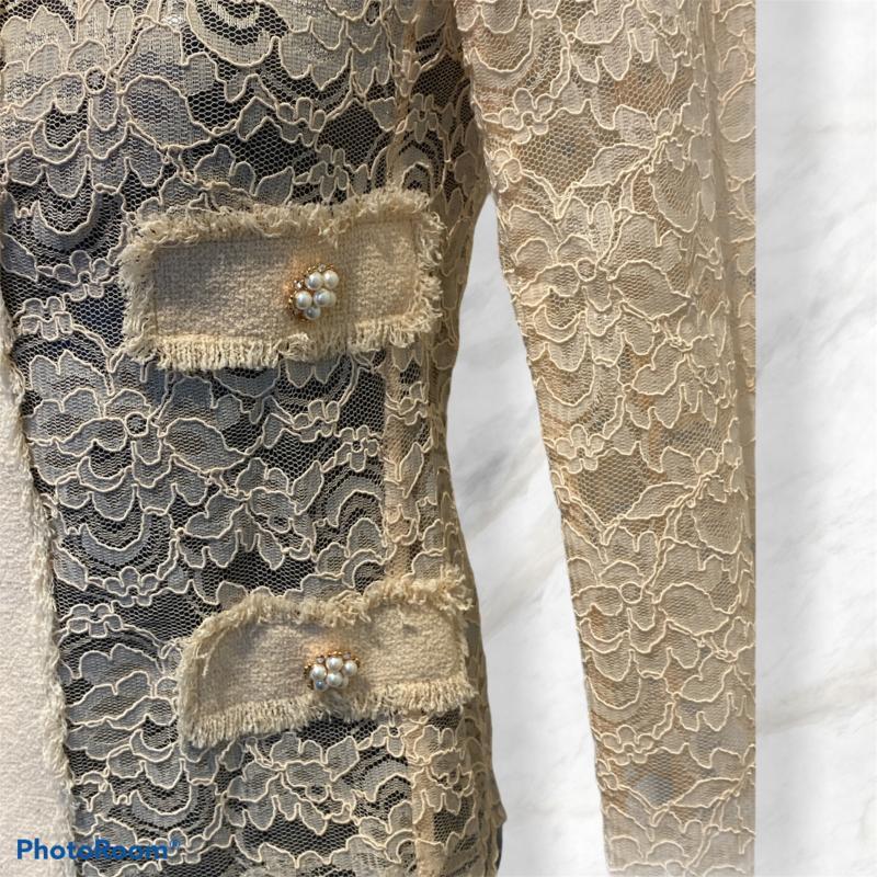 GIACCA DONNA EDWARD ACHOUR PARIS ROSA IN PIZZO BOTTONI GIOIELLO | Mercatino dell'Usato Moncalieri bengasi 2