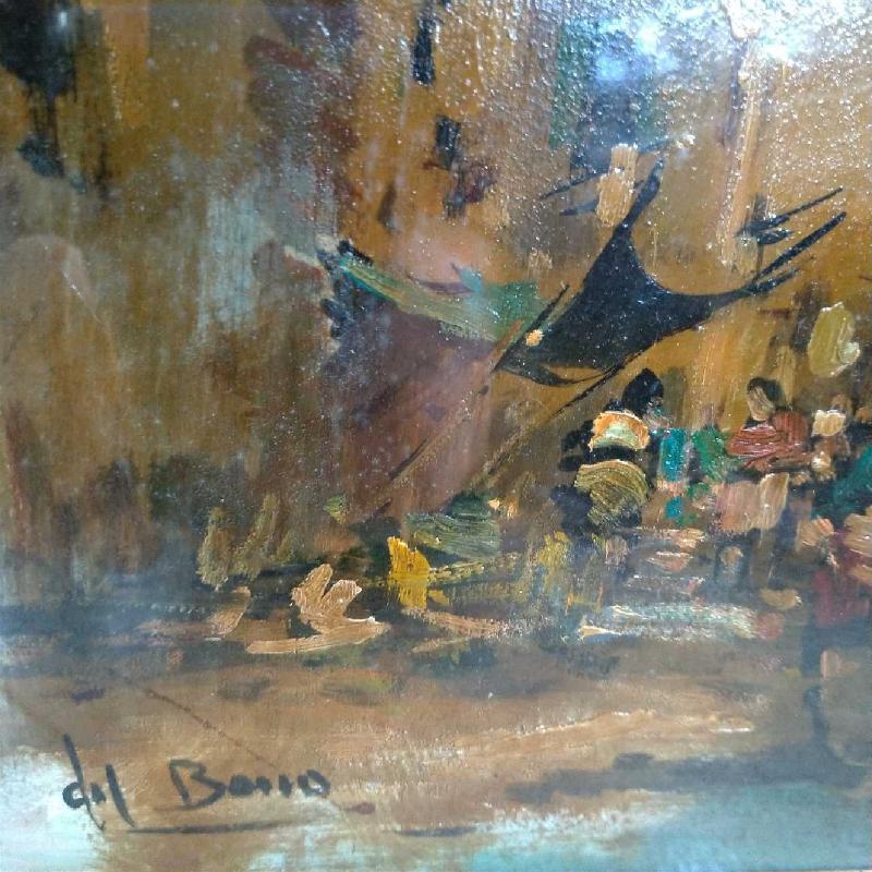 DIPINTO S/TAVOLA LEGNO ART. DEL BONO PAESAGGIO VISTA CITTADINA  | Mercatino dell'Usato Moncalieri bengasi 3