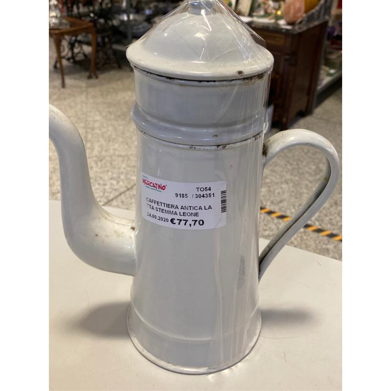 CAFFETTIERA ANTICA LATTA STEMMA LEONE SOTTO   Mercatino dell'Usato Osasco 1