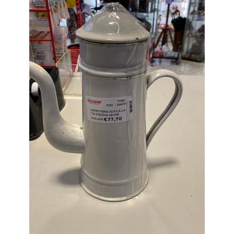 CAFFETTIERA ANTICA LATTA STEMMA LEONE SOTTO   Mercatino dell'Usato Osasco 2
