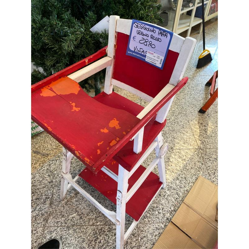 SEGGIOLINO PAPPA VINTAGE LEGNO ROSSO BIANCO  | Mercatino dell'Usato Osasco 3