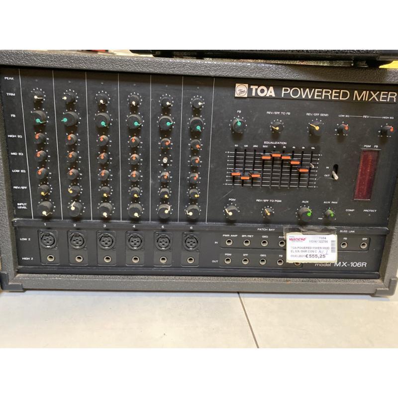 TOA POWERED MIXER MODEL MX-106R CON CASSE TOA RS 20 400W+400W | Mercatino dell'Usato Osasco 2