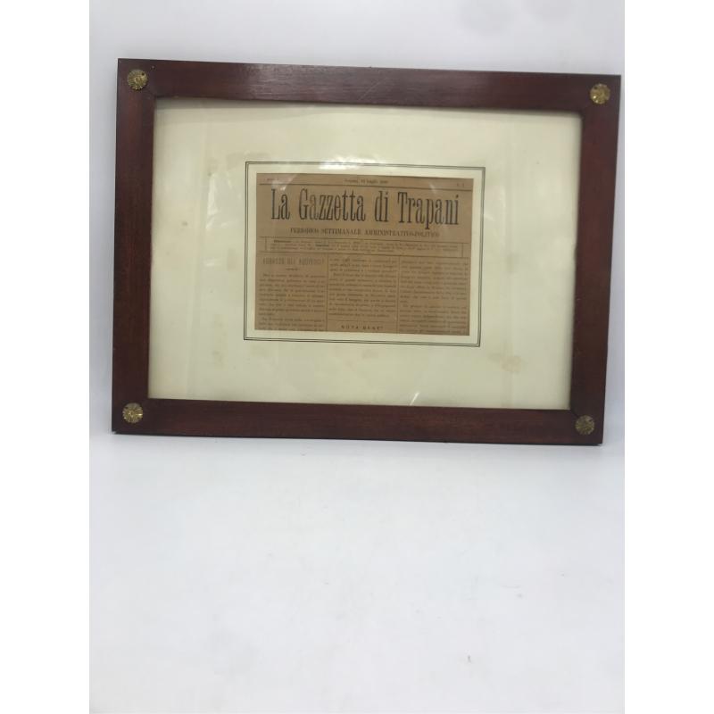 QUADRO CON PAGINA GAZZETTA DI TRAPANI DEL 1890 | Mercatino dell'Usato Erice casa santa(zona carcere) 1