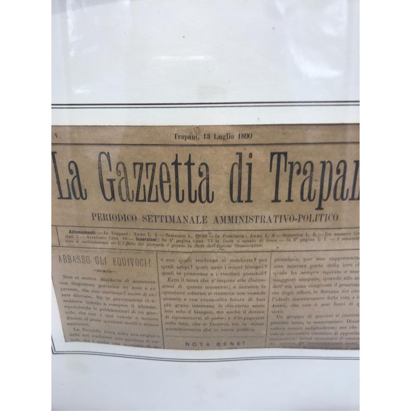 QUADRO CON PAGINA GAZZETTA DI TRAPANI DEL 1890 | Mercatino dell'Usato Erice casa santa(zona carcere) 3