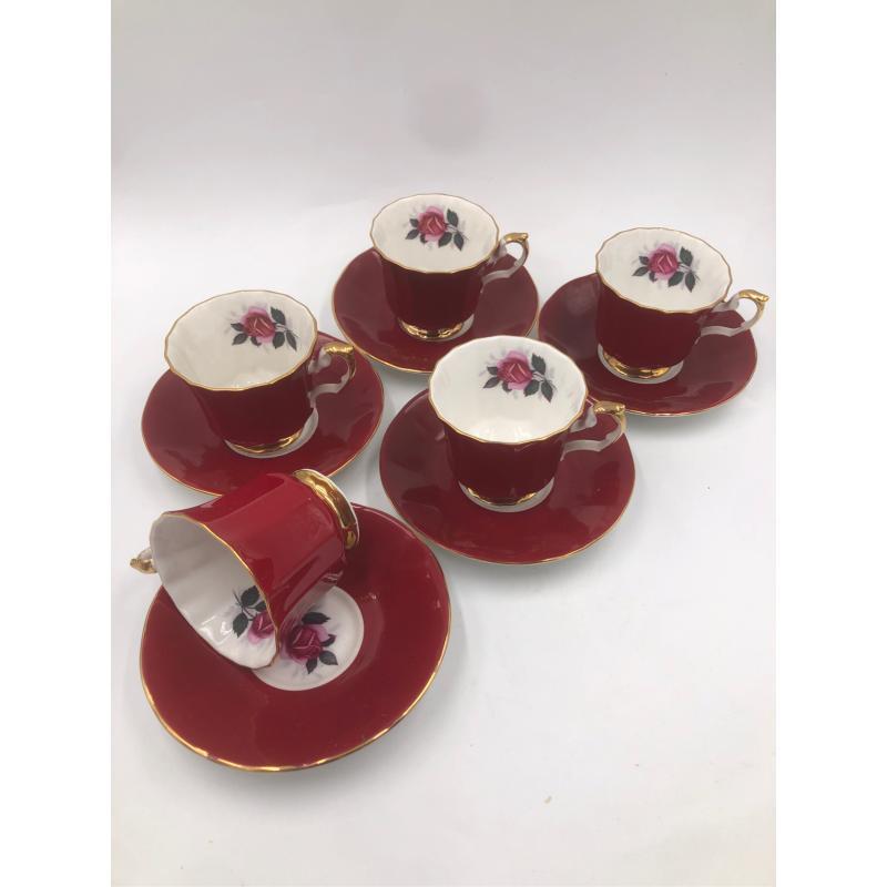 TAZZINE ENGLAND 6 PZZ 5 PIATT ROSSE ROSE | Mercatino dell'Usato Chiampo 1