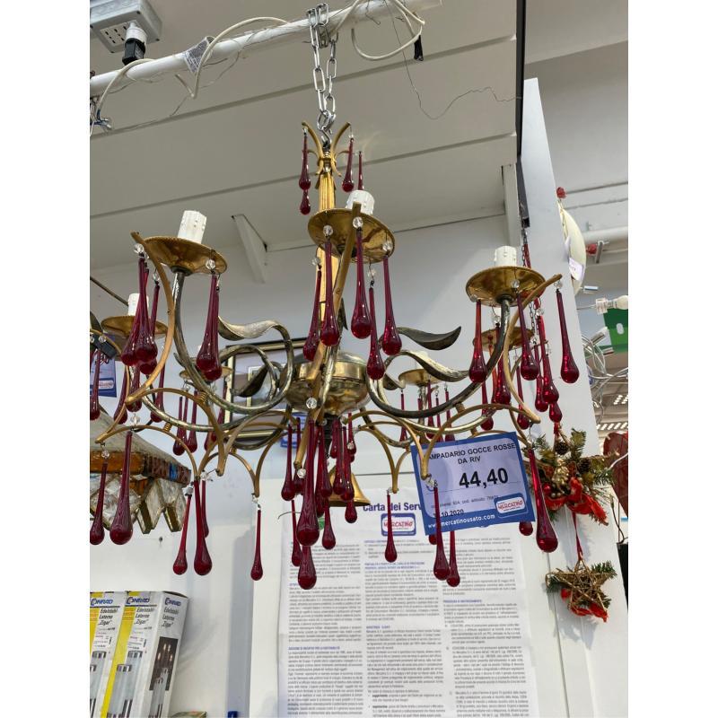 LAMPADARIO GOCCE ROSSE DA RIV   Mercatino dell'Usato Verona fiera 1